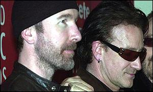 Bono and Adam Clayton of U2 at Irish Music Awards