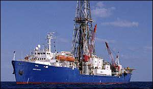 The Joides Resolution drilling ship, BBC