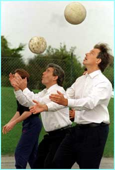 Tony Blair again, this time playing keepie-up with then England football manager Kevin Keegan - not bad, almost cool