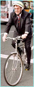 Deputy Prime Minister John Prescott gets on his bike - and doesn't even wear trouser clips - not bad, not cool though