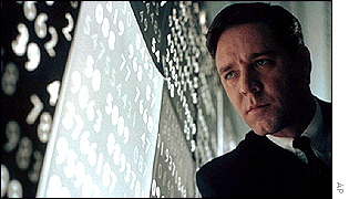 Russell Crowe playing John Nash in A Beautiful Mind