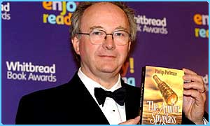 Philip Pullman with The Amber Spyglass