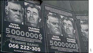 Wanted posters showing Radovan Karadzic and General Ratko Mladic
