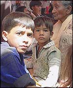 Children in makeshift shelter