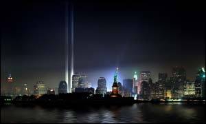 Tribute in Lights - artist's impression ( Copyright - The Municipal Art Society)