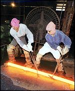 Steel workers in Bangalore, India