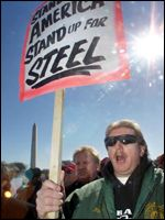 A US steel protester