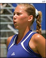 Tennis player Anna Kournikova in an Adidas top