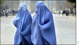 Women dressed in burqas