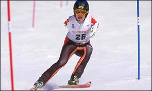 Skiing action from the 1998 Winter Paralympics in Nagano