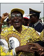 A triumphant Robert Mugabe