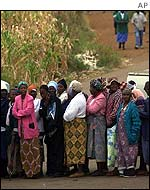 Queues of people lined up to vote