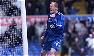 Cardiff's Andy Campbell celebrates his first goal against Blackpool