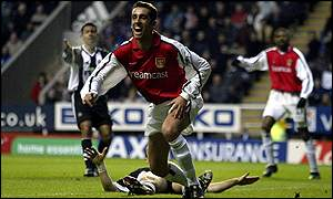 Arsenal's Edu celebrates his goal against Newcastle