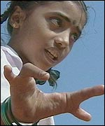 Young girl with deformed hand