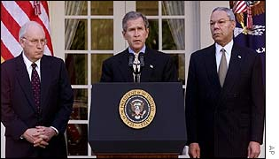 Cheney, Bush and Powell announcing new Middle East initiative