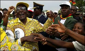 Zimbabwe's President Robert Mugabe addressing a rally