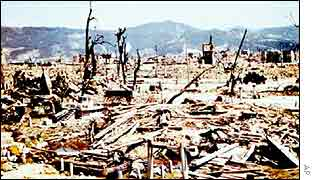 The Japanese city of Hiroshima shortly after a US nuclear bomb destroyed it in 1945