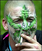 Man smoking cannabis