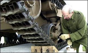 The Sexton 25 pounder self-propelled gun receiving finishing touches