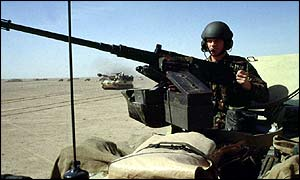 British tank soldier on patrol as part of the Allied Desert Storm operation in 1991