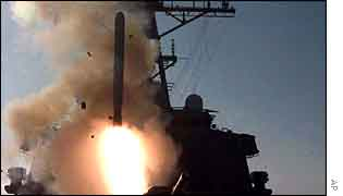 A tomahawk missile is launched in the Gulf War