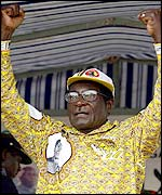 President Robert Mugabe at an election rally