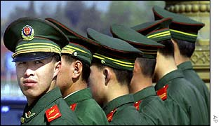 Chinese military police in Beijing