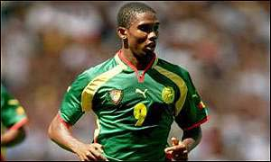 Samuel Eto'o after scoring against Togo in a crucial qualifier