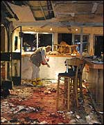 Inside of Moment cafe after the suicide bomb attack