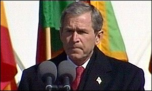 US President George W Bush speaking at the memorial service on the White House lawn