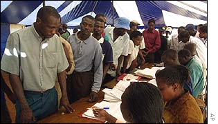 Voters at Harare polling station