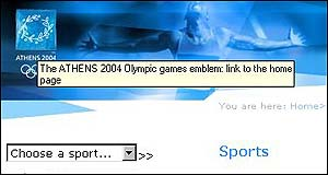 Screen grab from Athens Olympics website