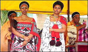 One of King Mswati III's earlier fianc�es (wearing tassels)