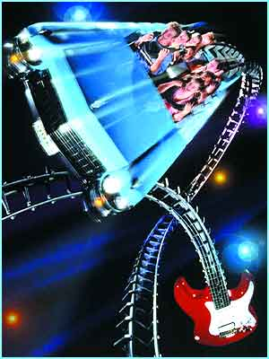 The Rock 'N Rollin Coaster moves with thumping tunes from rockers Aerosmith