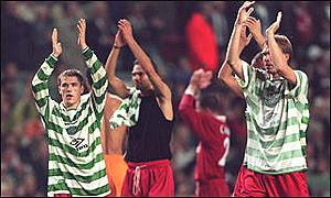 Michael Owen helps Liverpool defeat Celtic in the Uefa Cup in 1997