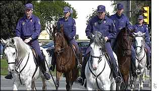 Mounted police patrol Barcelona ahead of summit