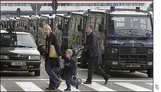 Riot police vans at Barcelona airport