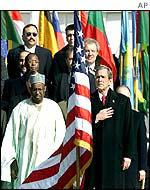 President Bush and ambassadors at the ceremony