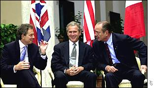 Tony Blair, George Bush and Jacque Chirac