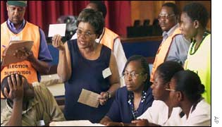 Election count at Vainona High School in Harare
