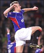 Bert Konterman celebrates the winning goal against Celtic in the semi