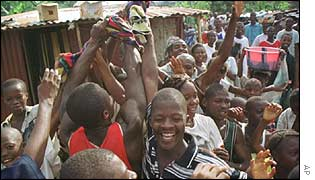 Celebrations after the arrest of Sankoh