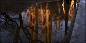 Sagrada Familia, reflecting in water