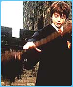 Harry Potter learning Quidditch