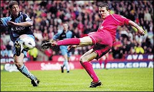 Christian Ziege fires in a volley against Wycombe Wanderers during his Liverpool days