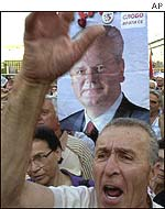 Milosevic supporters protest against his extradition