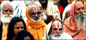 Hindu holy men campaigning in Delhi for the construction of a temple at Ayodhya