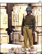 Indian soldiers patrol the streets of Ayodhya.