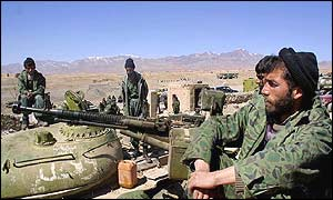 Afghan soldiers near the eastern city of Gardez